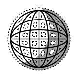 Sticker shading silhouette sphere with lines cartographic Stock Photo