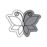 Sticker shading sketch butterfly insect icon Royalty Free Stock Photo