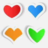 Sticker in the shape of heart. Set of bright stickers in form of heart. Valentine'S Day. Vector illustration Vector Illustration