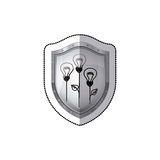Sticker shield with light bulb eco with leaves Royalty Free Stock Images