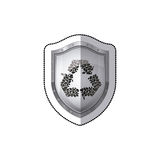 Sticker shield with recycled symbol Royalty Free Stock Photography
