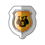 Sticker shield with set collection bag with dollar symbol. Illustration Royalty Free Stock Photography