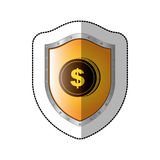 Sticker shield with silhouette coin with dollar symbol Royalty Free Stock Image