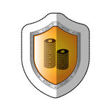 Sticker shield with silhouette stacked coins with dollar symbol Stock Images