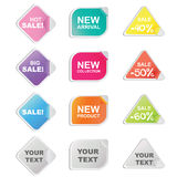 Sticker for shop and seller. Set of 12 colorful stickers in circle, square and heart shaped for shop and seller Stock Photo