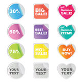 Sticker for shop and seller. Set of 12 colorful stickers in circle, square and heart shaped for shop and seller Royalty Free Stock Image