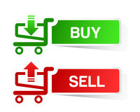 Sticker shopping cart item, trolley, BUY  SELL but. Ton isolated Stock Image