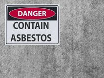 The sticker Sign danger asbestos contain at the plaster asbestos wall. Sticker Sign danger contain asbestos at the plaster asbestos wall stock image