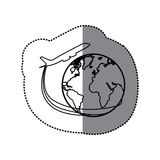 sticker silhouette airplane around earth world icon Stock Photography