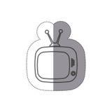 sticker silhouette antique tv icon flat Stock Photos