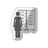 Sticker silhouette archiver with filling cabinet Royalty Free Stock Images