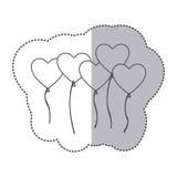 Sticker silhouette bunch romantic balloons decorative design Royalty Free Stock Photos