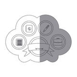 Sticker silhouette button academic apps with emblem ribbon decorative. Illustration Royalty Free Stock Photo