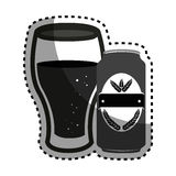 Sticker silhouette canned drink with glass cup of beer Royalty Free Stock Photography