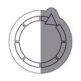 Sticker silhouette circular arrow icon. Illustration Royalty Free Stock Image