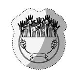 Sticker silhouette circular border with olive branch and multiple hands up Stock Images