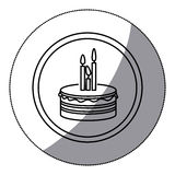 Sticker silhouette circular frame with cake and candles. Illustration Stock Image