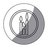 Sticker silhouette circular frame with candles set. Illustration Royalty Free Stock Photo