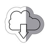 Sticker silhouette cloud with arrow in down direction Royalty Free Stock Image