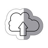 Sticker silhouette cloud with arrow in up direction Stock Images
