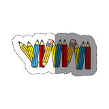 Sticker silhouette with colored pencils row with half shadow. Illustration stock illustration