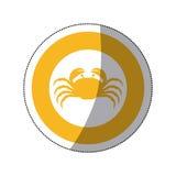Sticker silhouette crab in circular frame Royalty Free Stock Photos