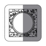 sticker silhouette decorative frame with pattern roses and butterflies design Royalty Free Stock Images