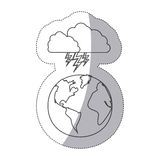 Sticker silhouette earth world cloud with cloud with lightnings Stock Photography