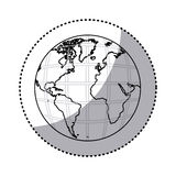 sticker silhouette earth world map with continents in 3d Stock Images