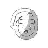 Sticker silhouette face cartoon snowman christmas design. Illustration Stock Images