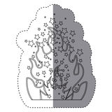 Sticker silhouette fire flame burning. Illustration Royalty Free Stock Photography