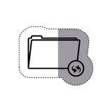Sticker silhouette folder symbol to update files Stock Image