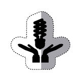 Sticker silhouette of hands holding a modern light bulb Royalty Free Stock Photo