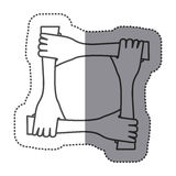 sticker silhouette hands teamwork icon Stock Images