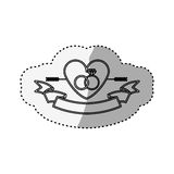 Sticker silhouette heart crossed by arrow and rings engagement Royalty Free Stock Photos
