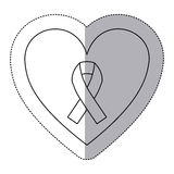 Sticker silhouette of heart with ribbon symbol of breast cancer Stock Photos