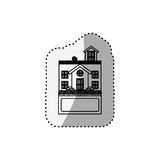 Sticker silhouette house with terrace and label Royalty Free Stock Image