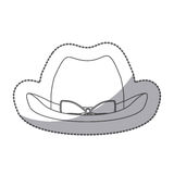 Sticker silhouette lace cowboy hat with bow retro design. Illustration Stock Image