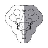sticker silhouette monkey animal with hat party and balloons icon Royalty Free Stock Photos