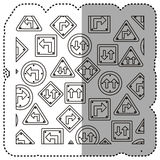 sticker silhouette pattern road traffic sign with arrows set Stock Photography