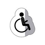 Sticker silhouette pictogram sitting in abstract reclininig wheelchair flat icon Royalty Free Stock Photography