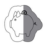 Sticker silhouette piggy bank with dollar coin. Illustration Stock Photos