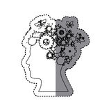 sticker silhouette profile human with gear wheel icons and butterflies Stock Photos
