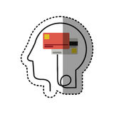 Sticker silhouette profile human head with debit and credit cards. Illustration royalty free illustration