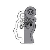 sticker silhouette profile human with set gear wheel icons Royalty Free Stock Photos