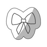 sticker silhouette realistic cute ribbon with bow vector illustration