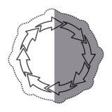 Sticker silhouette set circular arrow icon. Illustration Royalty Free Stock Photos