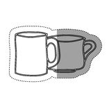sticker silhouette set collection porcelain cups utensil kitchen Royalty Free Stock Image