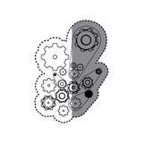 sticker silhouette set gear wheel icons Stock Photo