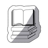 Sticker silhouette set stack school books with open book. Illustration Stock Photography